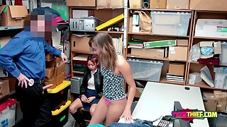 Naughty milf and teen are taken to an office when found shoplifting