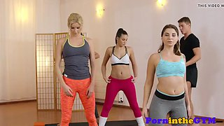 threeway fitness babes trio with instructor
