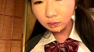 Amateur japanese schoolgirls get a blowjob