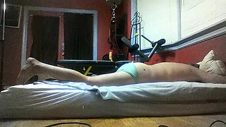 Curvy mature blonde buries a strap-on toy inside a guy's ass