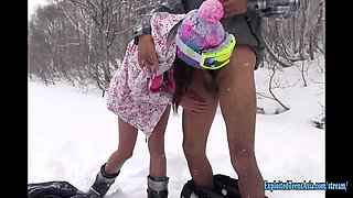 Jav Amateur Itsuka Fucks In The Snow In Hokkaido Uncensored Action Outdoors Freezing Her Clit Off