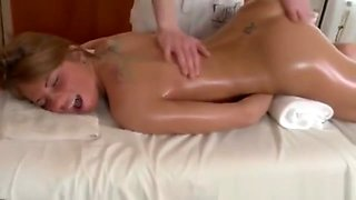 Oiled up babe sucks cock during massage and cant get enough
