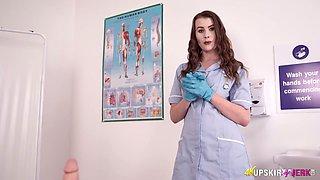 Fabulous curvy British nurse Brook Logan is always ready to flash bum