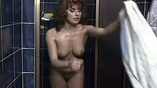 Magnificent all natural redhead babe washing herself in the shower room