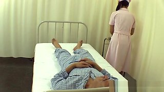 Pretty Asian nurse with small tits gets position 69