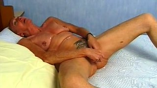 Mature and wicked busty whore with pierced pussy masturbating