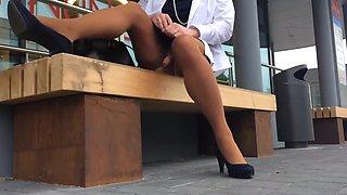 Crossdresser masturbating in public
