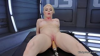 busty blonde fucks shaved pussy with machine