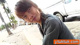 petite asian doll screams with joy as a complete stranger nails her