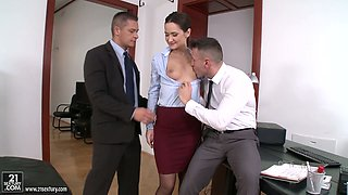 Sexy secretary Angie Moon enjoys having dirty threeway sex in the office