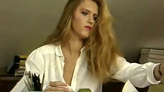 Hot classic French blonde milf blows dick and rides on it