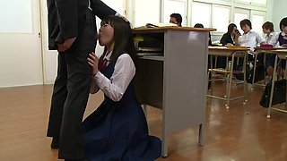 schoolgirl sucks off the teacher in front of the whole class