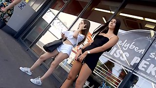 Spying on two hot college girl in public