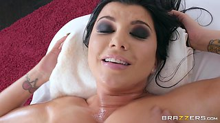 romi rain gets massaged and face fucked