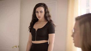 Virgin sister Carolina Sweets sucks cock for her 1st time