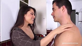 Newly married couple having hard sex at kitchen