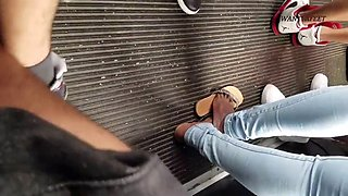 Candid ebony feet on bus