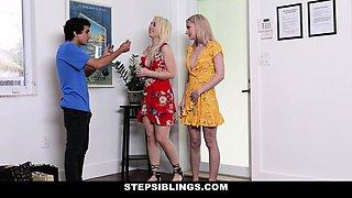 StepSiblings - Pervy Stepbro Fucks Two Step sisters