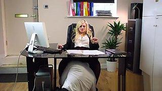Busty blonde boss beauty bangs in office