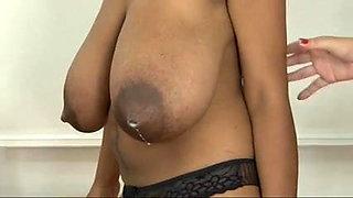 Ebony Lesbian Getting Her Lactating Tits Milk & Sucked