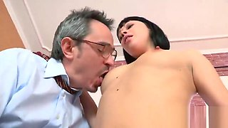 Sultry schoolgirl is tempted and penetrated by her older teacher
