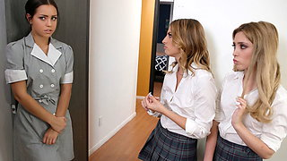Spoiled slut tricked by a maid and a friend