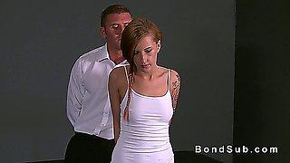 Handcuffed redhead slave banged in dungeon