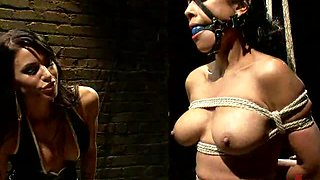 Submissive Brunette Abused in Many Ways By Dominant Lesbian