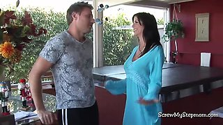 A busty and smoking hot stepmom gets scored by her well endowed step son in multiple positions on a bed
