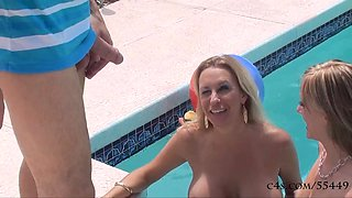 Two Hot Babes Fuck the Bachelor by the Pool