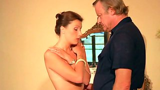 Mature white dude trying to seduce and fuck hot lean brunette