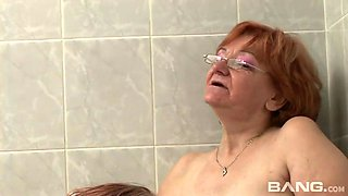 Two fat nasty grannies take bath and fingerfuck each other tough