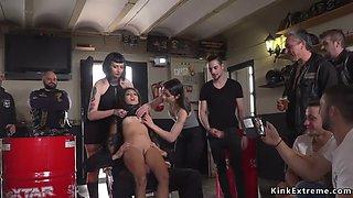 In bikers shop brunette slave disgraced