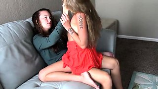 Cute brunette uses a strap-on toy to fuck her lesbian friend