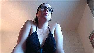 Horny mommy in black sleepwear gets undressed and turns me on