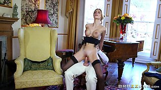 erica fontes rides his schlong, taking it deep in her tight cunt