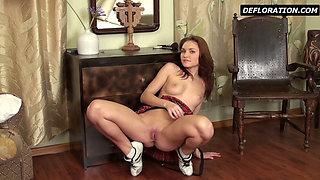 Sexy schoolgirl on casting