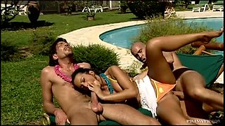 Two Horny Babes Getting Fucked Outdoors By Two Cocks