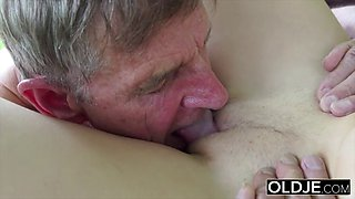 The most tasty 18 years old pussy this grandpa had sex with