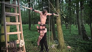 Teen tied up and abused by her bondage master