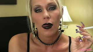 Milf black lipstick smoking 120s
