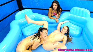 Oiled up wrestling lesbians pussylicking