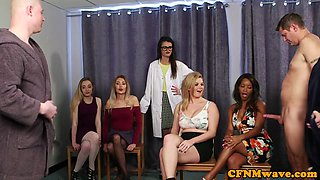 CFNM sluts wanking dicks until cumshot