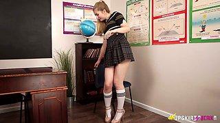 British college babe Stephanie Bonham Carter is flashing her panties upskirt