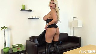 Delicate blonde is glad to show off all of her curves
