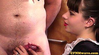 Spex cfnm milf sucking cock with teen cutie