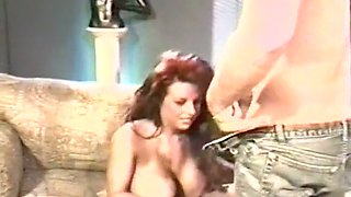 Fine and lascivious redhead busty milf likes to be titfucked