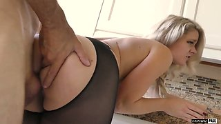 Gorgeous auburn babe with sexy curves Lisey Sweet knows how to jump on prick