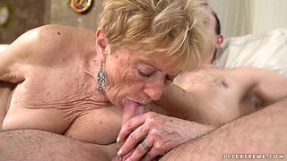 Nasty old bag Malya gets her twat fucked by one young student