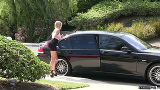 Gorgeous blonde Kate England banged hard in the car
